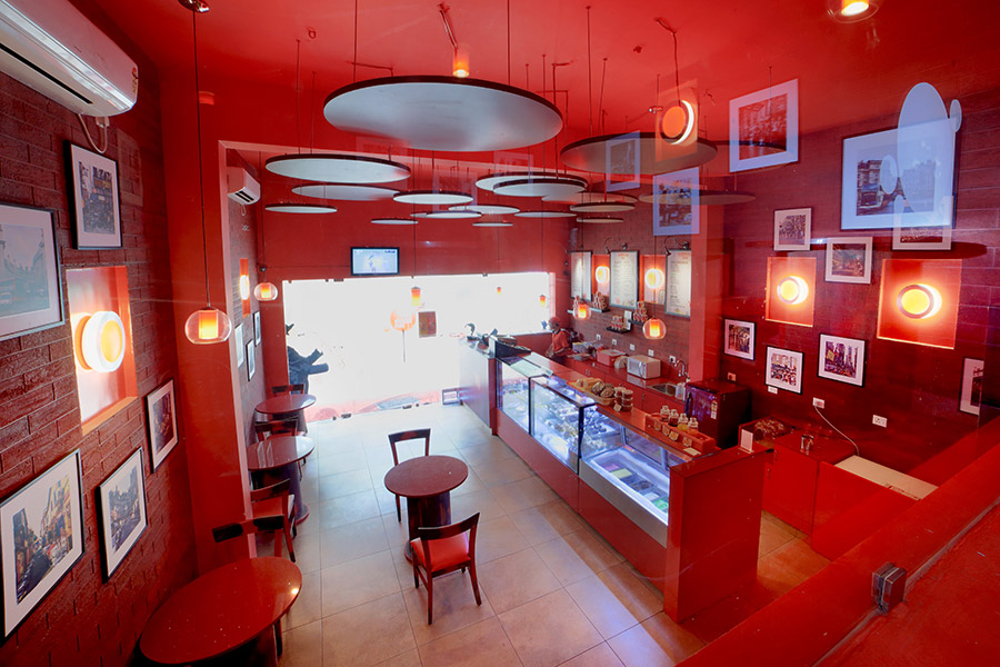 staying true to the name red bubbles we incorporated bubbles into the interior and made red the predominant color our aim for this project was to create a